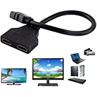 HDMI Male To Dual HDMI Female, JOMOQ 1 to 2 Way Splitter Adapter Cable Converter for HDTV,Support 2 TVs At The Same Time,Signal 1 in, 2 Out