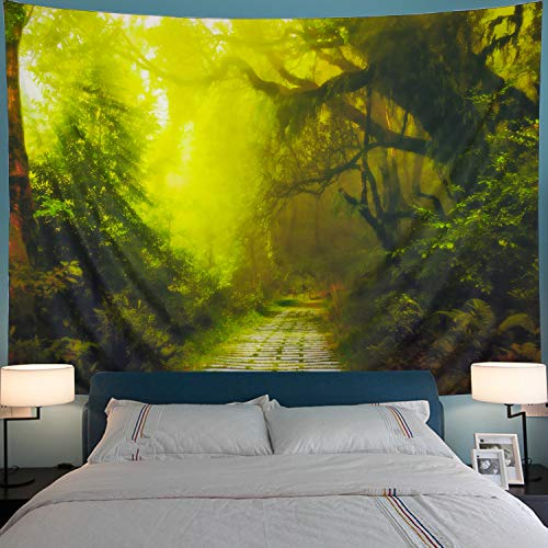 Rain Wall Hanging - Leofanger Misty Forest Tapestry Rainforest with Road Landscape Tapestry Wall Hanging Jungle Trees Bohemian Psychedelic Tapestry for Bedroom Living Room Dorm