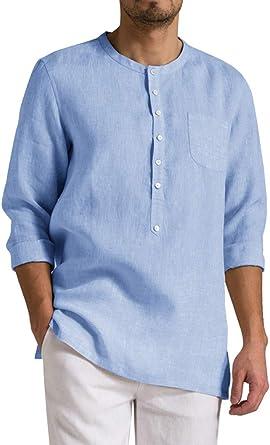 ORANDESIGNE Camisa Hombre Blusa Suelta Casual Transpirable Top de Manga 3/4 Camisas Sin Cuello de Color Sólido Blusas de Lino: Amazon.es: Ropa y accesorios