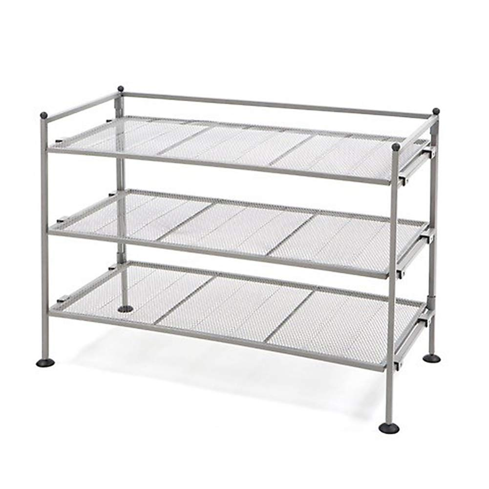 Seville Classics 3-Tier Iron Mesh Utility Shoe Rack, Satin Pewter