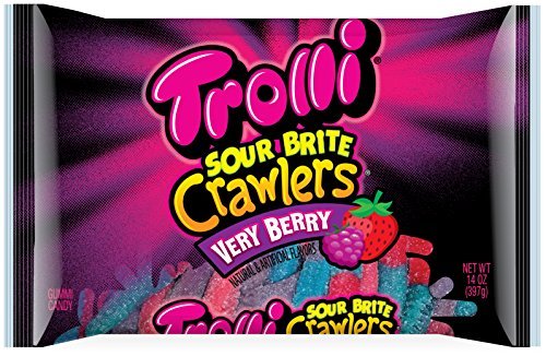 Trolli Sour Brite Crawlers Gummy Candy  Very Berry  14 Ounce Bag  Pack Of 12