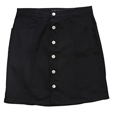 FGR Ko Ko Ailis Womens Stretch Twill Button Flare Skirt with Side Pocket at Women's Clothing store