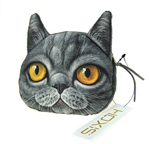 Hoxis Lovely Cat Dog Printing Pattern Zipper Coin Purse/Cartoon Animal Mini Wallet Novelty Design (Russian Blue) ()