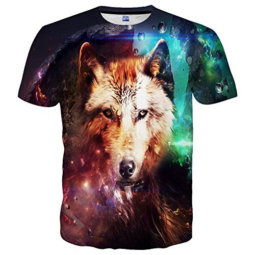 Hgvoetty Unisex 3D Wolf Shirts Cool Graphic Top Tess for Men Women Teenagers S - Zombies Sleeve Funny Long
