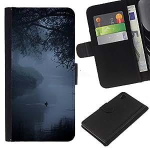 iBinBang / Flip Funda de Cuero Case Cover - Fog Mist Lake Duck Nature Spring - Sony Xperia Z4