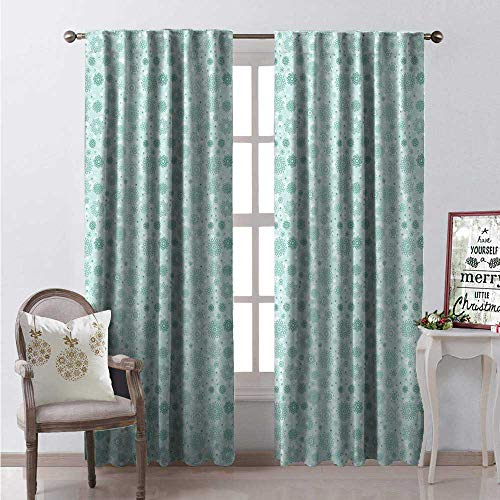 - Hengshu Snowflake Room Darkening Wide Curtains Pastel Green Tones Abstract Sweet Winter Frost ICY Crystals Christmas Theme Image Waterproof Window Curtain W108 x L84 Multicolor