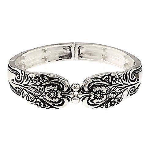 (Emulily Spoon Look Design Texture Stretch Bracelet (Antique Silver))