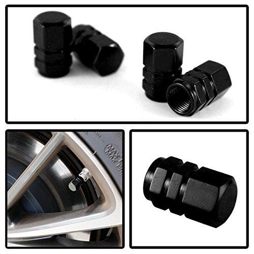 Black Valve Stem Caps (iJDMTOY (4) Tuner Racing Style Black Aluminum Tire Valve Caps (Hexagon)