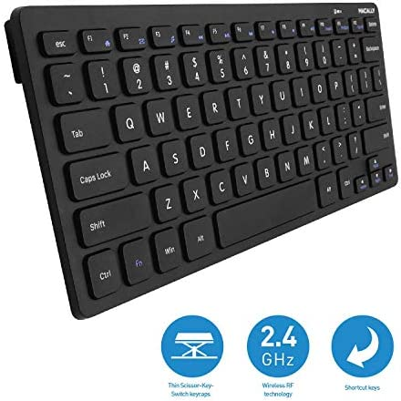 Macally 2.4G Mini teclado inalámbrico – ergonómico y cómodo – pequeño teclado para ordenador portátil o Windows PC, tableta, Smart TV – Plug & Play Teclado compacto 12 teclas de acceso rápido multimedia 4
