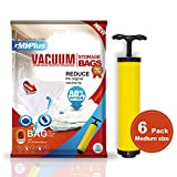 vacuum bag sealer for clothes - GMVPlus Premium Vacuum Storage Bags (Lifetime Replacement Guarantee) (Works With Any Vacuum Cleaner + FREE Hand-Pump for Travel!) 80% More Compression (6 Pack) (Medium - 28 x 20 Inches)