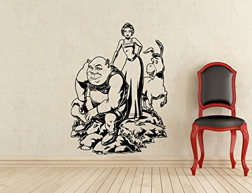 Shrek Wall Decal Princess Fiona Donkey Kids Cartoon Vinyl Sticker Room Interior Decoration Home Kids Room Art Design Removable Waterproof Mural (391z) ()