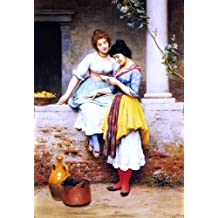"""Eugene De Blaas The Love Letter - 18.1"""" x 27.1"""" Peel & Stick Removable Wall Decal"""