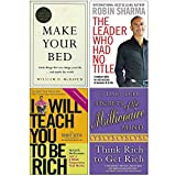 Books : Make Your Bed [Hardcover], The Leader Who Had No Title, I Will Teach You To Be Rich, Secrets of the Millionaire Mind 4 Books Collection Set