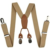 "Kids Suspenders, Cinny Elastic Solid Color 1"" Suspender with 4 Metal Clips"