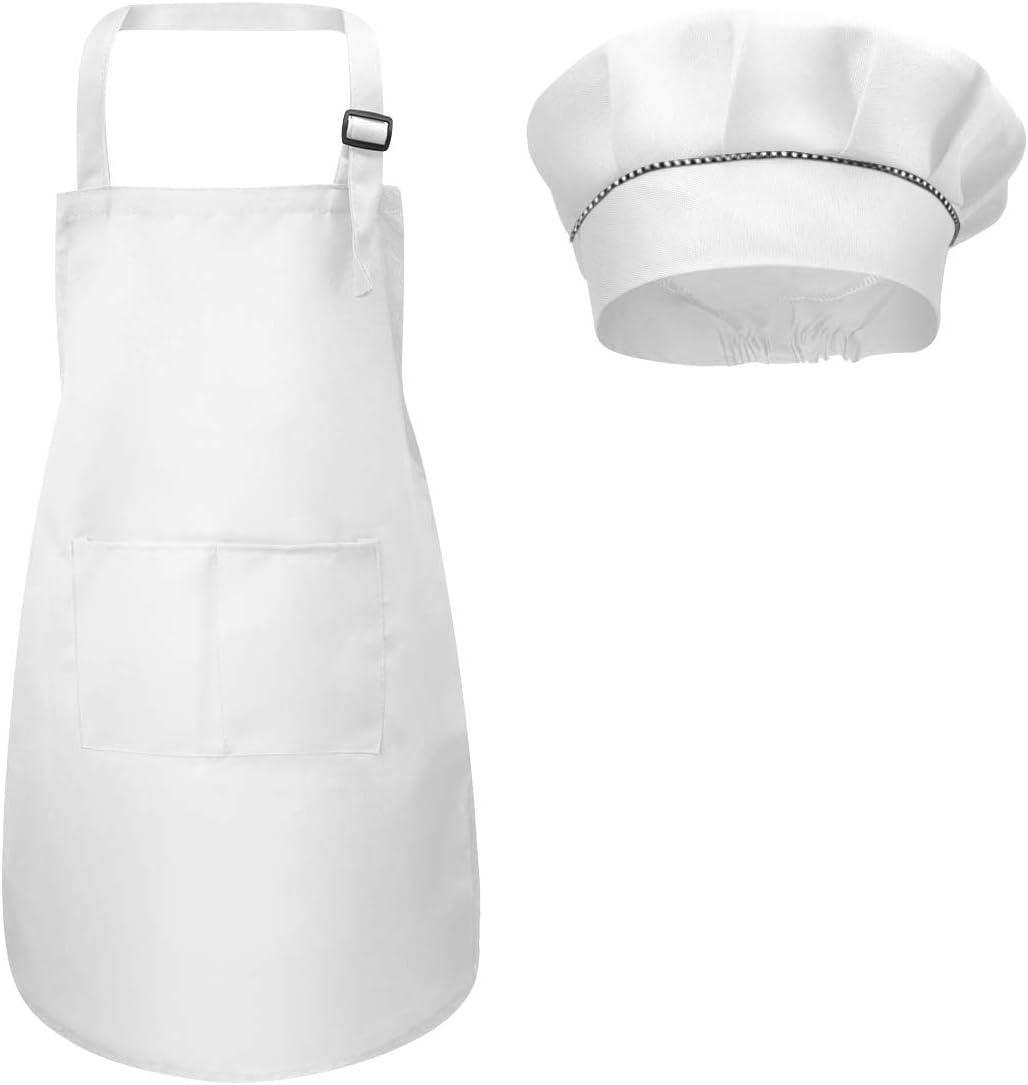 Fodlon Delantal para Niños+Gorro De Cocinero, Delantal de Cocina Infantil Delantales Infantiles Delantal De Chef De Cocina para Niños Pintura 4-12 Años (Blanco, L)
