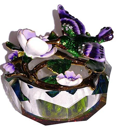 Trinket Enamel Flower Box - Welforth Jeweled Enamel Green Hummingbird & Purple Flower Rainbow Crystal Treasure Trinket Box