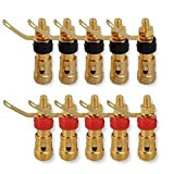 Conwork 4mm Banana Socket Connector, Gold Plated Audio Plug Jack Amplifier Terminal Spring Loaded Press Type Binding Post (35mm Length 10-Pack)