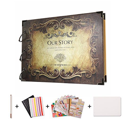SICOHOME Scrapbook,Our Story Scrapbook Album for Gifts and Wedding Guest Book by SICOHOME