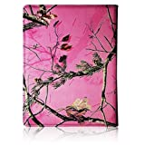APPLE IPAD 2/3/4 REAL OAK TREE PINK CAMO WITH ROTATING MAGNETIC ROTATING 360 DEGREES SMART COVER CASE WITH A BAND
