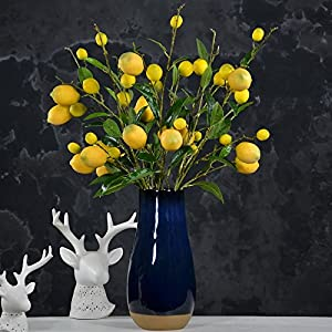 GiDiProtea Artificial Lemon Branch Yellow Vivid Artificial Fake Lemon Flower Home Party Garden Decoration 2Pcs 7 lemons 5