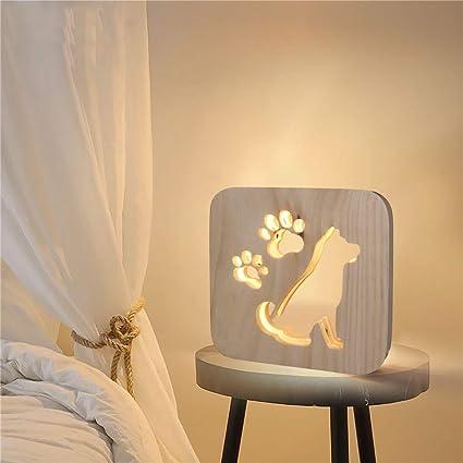 Tianranrt❄ Lámpara de Mesa de Madera Creativa Con Lámpara ...