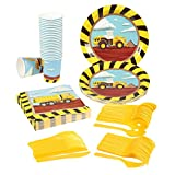 Construction Party Supplies – Serves 24 – Includes Plates, Knives, Spoons, Forks, Cups and Napkins. Perfect Construction Birthday Party Pack for Kids Construction Themed Parties.