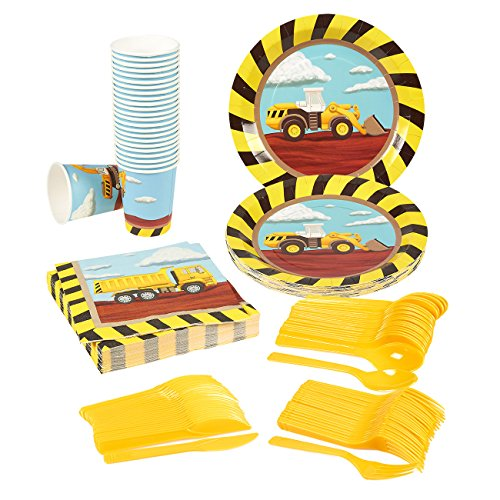 Disposable-Dinnerware-Set-Serves-24-Construction-Party-Supplies-Includes-Plastic-Knives-Spoons-Forks-Paper-Plates-Napkins-Cups-Assorted-Colors