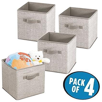 mDesign Juego de 4 cajas de tela para organizar armarios – Cajas organizadoras para guardar ropa