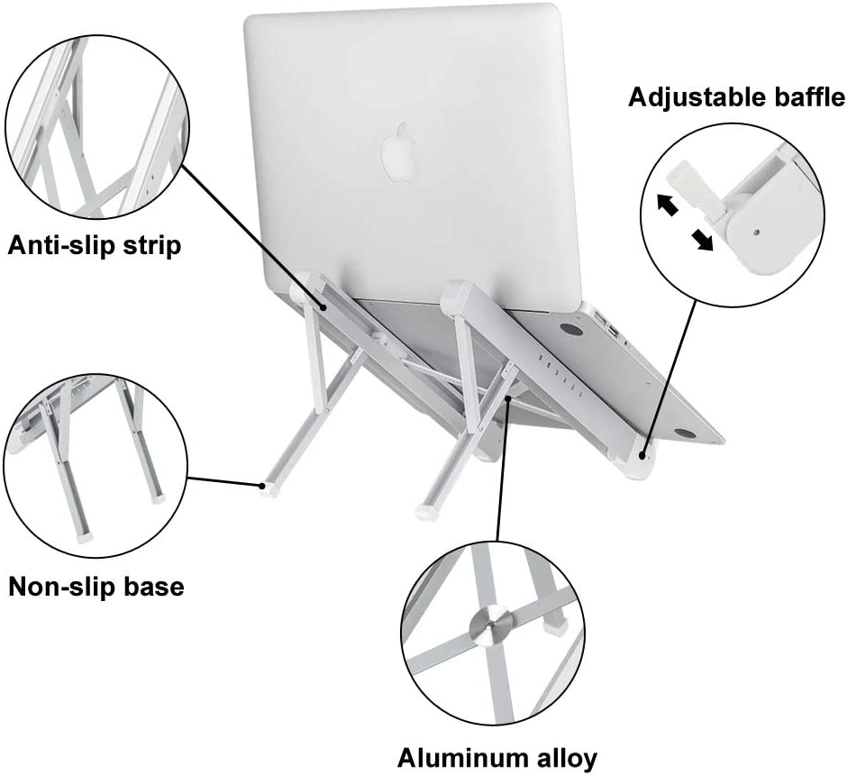 Ⅱ-Silver COOSKIN Portable Adjustable Egonomic Laptop Stand Holder for Desk Tablet PC Aluminum Ventilated Notebook Riser for MacBook Air Pro More 10-15.6 inches PC Computer