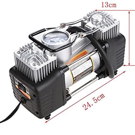 Amazon.com: Sailnovo 12V DC Portable Air Compressor, Heavy Duty Auto Car Tire Inflator, Classic Mini Double Cylinder, Car Tyre Compressor Pump with Adapter ...
