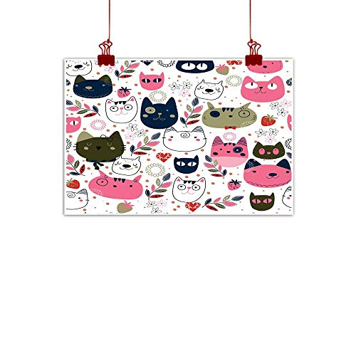 - Mannwarehouse Wall Art Decor Poster Painting Hand Drawn Kitty cat Wallpaper Illustration Decorations Home Decor 24