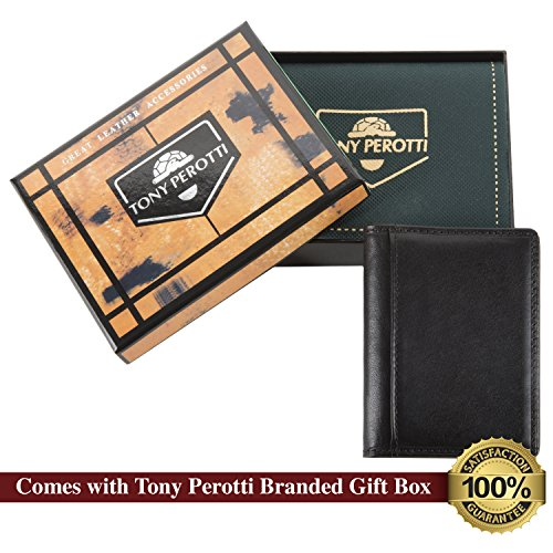 Leather Tony Holder Card Italian Black Bifold Thin Wallet Perotti Credit Eq61wqUZ