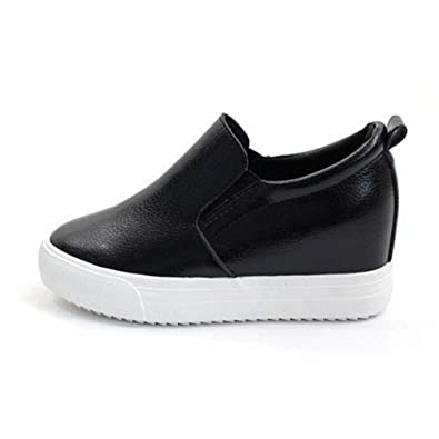 39281181d2067 EpicStep Women's Casual Leather High Mid Heels Hidden Wedges Slip On  Platform Sneakers Loafers