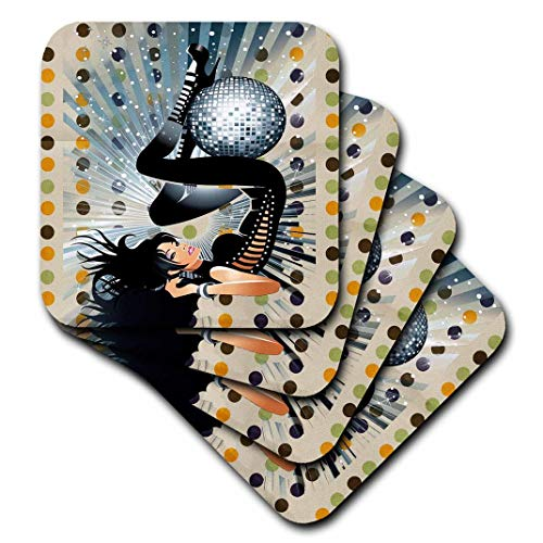 Polka Dot Party Coasters - 3dRose cst_167157_1 Disco Ball Party Pretty Lady and Polka Dot Background-Soft Coasters, Set of 4