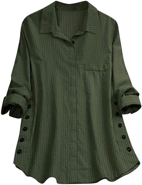 Blusa de lino para mujer, mangas largas, con botones, para leggings, camisa fluida: Amazon.es: Juguetes y juegos