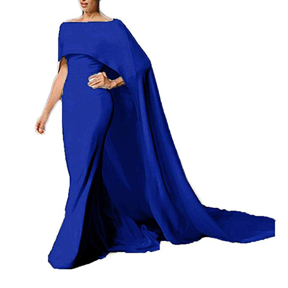 Royal bluee olise bridal Women's Mermaid Prom Evening Dresses 2018 Long Formal Evening Gowns Cape