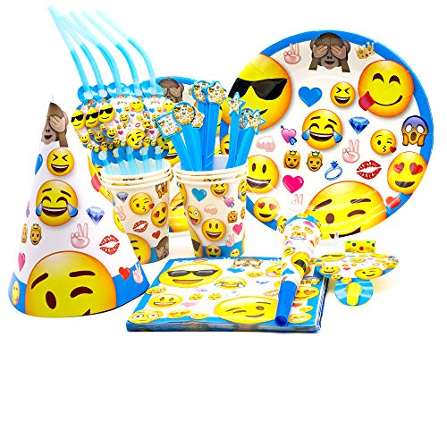 Emoji Party Supplies by Party Girl Kim | Emoji Party Favors Decorations Emoji Birthday Party | Makes Throwing a Party Easy - Complete party pack for 6 guests