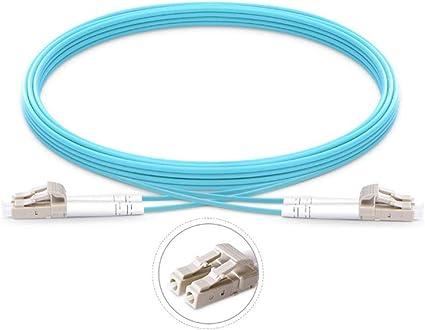 LC to LC OM3 Fiber Patch Cable Multimode Duplex 10Gb Aqua 50m