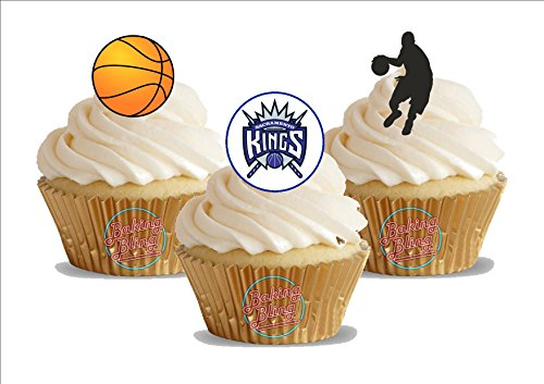 - 12 x Basketball Sacramento Kings Mix - Fun Novelty Birthday PREMIUM STAND UP Edible Wafer Card Cake Toppers Decoration
