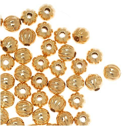 Beadaholique Genuine Plated Fluted Corrugated Round Metal Beads, 3mm, 22K (Corrugated Round Metal Beads)
