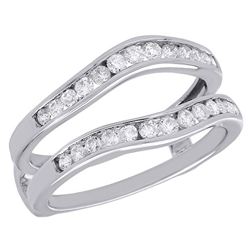 14K White Gold Channel Set Round Diamond Solitaire Engagement Ring Contour Wrap Enhancer 0.50 Cttw