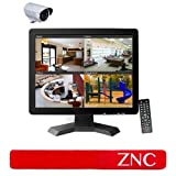 15 Inch CCTV TFT LCD Video Security Monitor with Remote Control Support VGA/AV/HDMI/BNC/USB Input + ZNC® Cable Tie