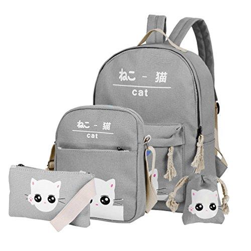 - Vbiger Canvas Kids Backpack Set 4pcs Casual Kitty School Bag for Teenage Girls (Light blue)