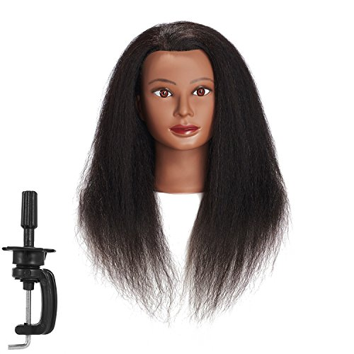 Traininghead 100% Real Hair Afro Mannequin Head Hairdresser Training Practice Head Cosmetology Manikin Head Doll Head With Free Clamp (A)