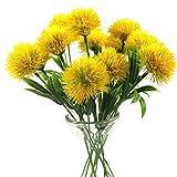 Yalulu 10 Pcs Dandelion Artificial Flowers Plants Bouquet Plastic Flower for Home Decoration/Wedding Decor (Yellow)