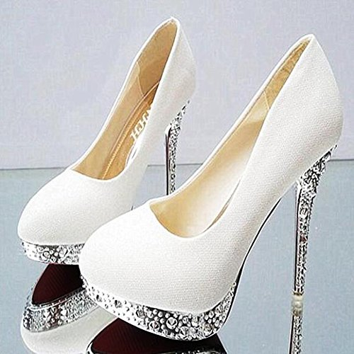 Getmorebeauty Womens Dress Shoes Tacchi A Spillo Glitter Stiletto Wedding Tacchi Bianchi