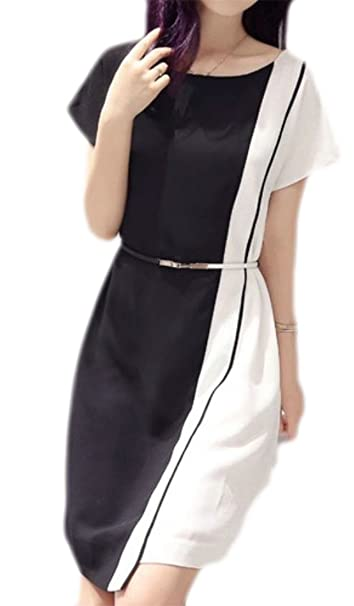 8ab5d6e9ef5 Wofupowga Women s Vintage Short Sleeve Color Block Chiffon Irregular Dress  Black White XXS
