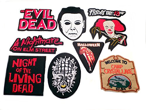 9PK Assortment Horror Film Theme DIY Easy Iron/Sew-on Embroidered Patches By Superheroes Brand (Diy Movie Inspired Halloween Costumes)