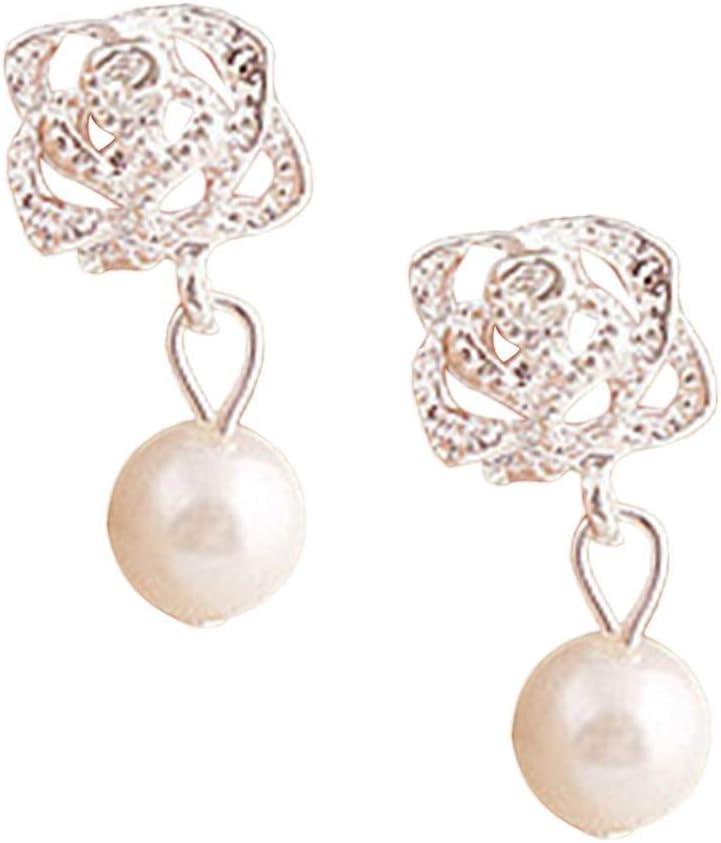 Boburyl Gota para el oído del oído joyería Rose Girl Flor de la Perla de Las Mujeres de Lujo del Banquete de Boda del Perno Hueco hacia Fuera los Pendientes