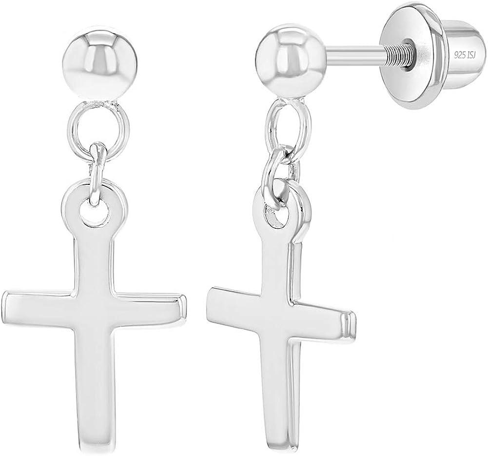 Jeunes Filles Adolescents Argent 925//1000 Croix Boucles d/'oreilles Tiges poussettes s/écurit/é /à vis Pendantes In Season Jewelry